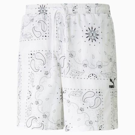 Shorts de tejido plano para hombre OB, Puma White-AOP, small