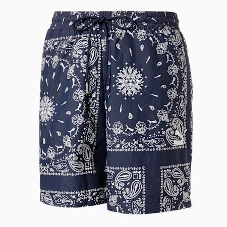 OB Woven Men's Shorts, Peacoat-AOP, small