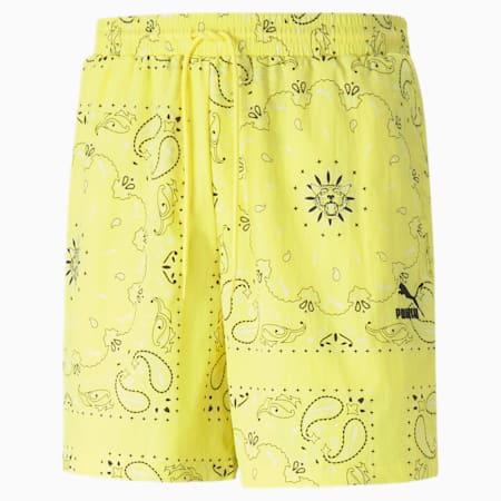OB Woven Men's Shorts, Celandine-AOP, small
