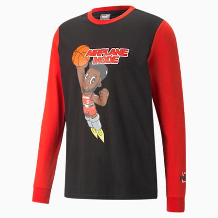 Derrick Jones Long Sleeve Men's Basketball Tee, Cotton Black, small-GBR