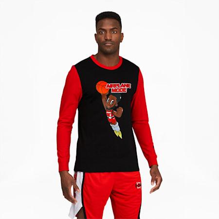 Camiseta de básquetbolDerrick Jonesmanga larga para hombre, Cotton Black, pequeño