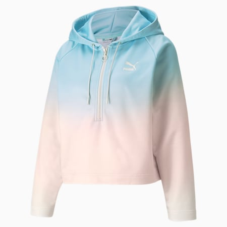 Gloaming AOP Relaxed Fit Women's Hoodie, Eggshell Blue-Gloaming, small-IND