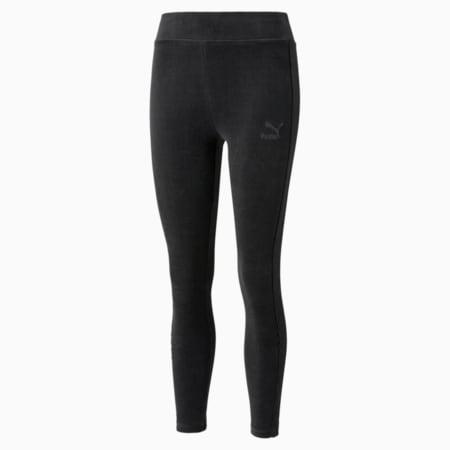 Leggings de velour de cintura alta Iconic para mujer, Puma Black, pequeño