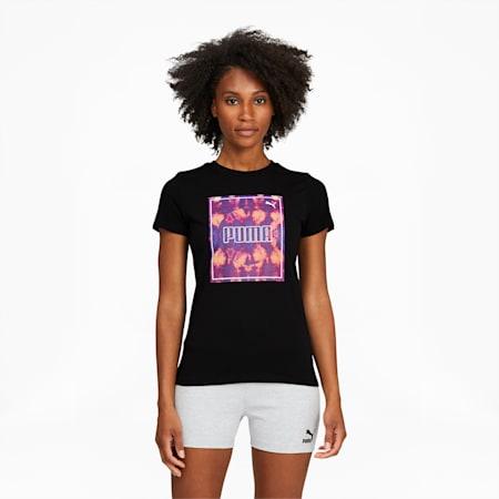 T-shirt Tie Dye, femme, coton noir, petit