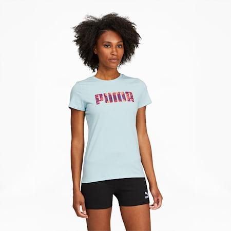 Camiseta de teñido anudado para mujer, Blue Glow, pequeño