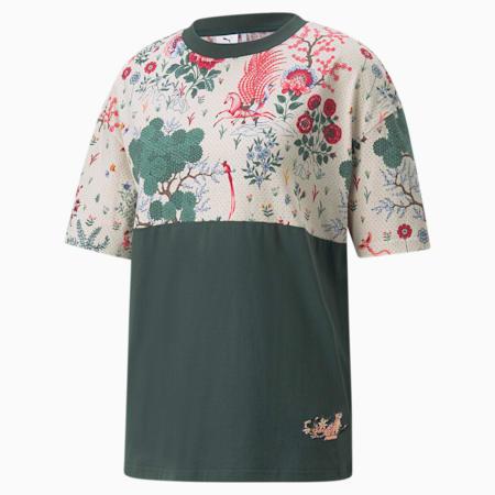Camiseta estampada PUMA x LIBERTY para mujer, Green Gables-AOP, pequeño