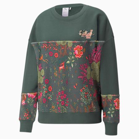 PUMA x LIBERTY Printed Crew Neck Women's Sweatshirt, Green Gables, small-GBR