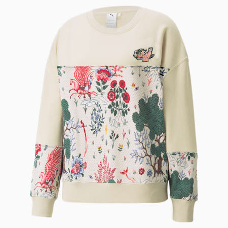 PUMA x LIBERTY Printed Crew Neck Women's Sweatshirt, Birch, small