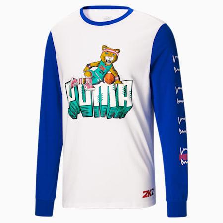 Camiseta de básquetbol de mangas largas2K para hombre, Puma White, pequeño