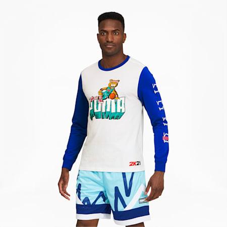 Camiseta de baloncesto de manga larga para hombre 2K, Puma White, small