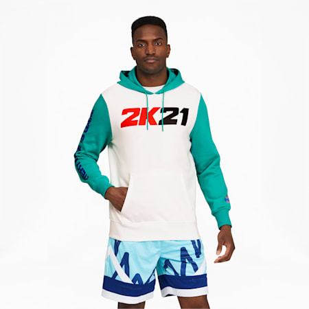 2K Men's Basketball Hoodie, Puma White-Columbia, small