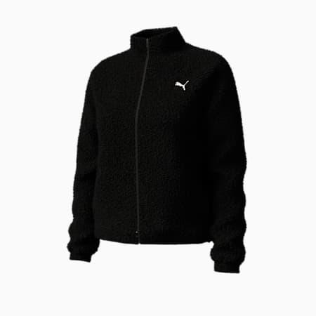 Sherpa Fleece Full Zip Women's Jacket, Puma Black, small