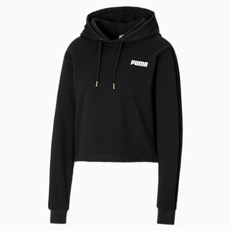 Velvet Block Cropped Women's Hoodie, Puma Black, small