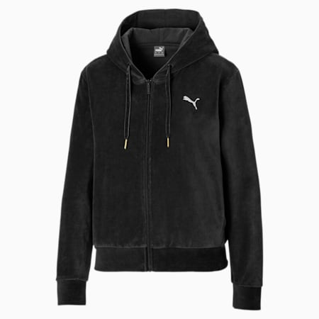 Velvet Full Zip Women's Hoodie, Puma Black, small