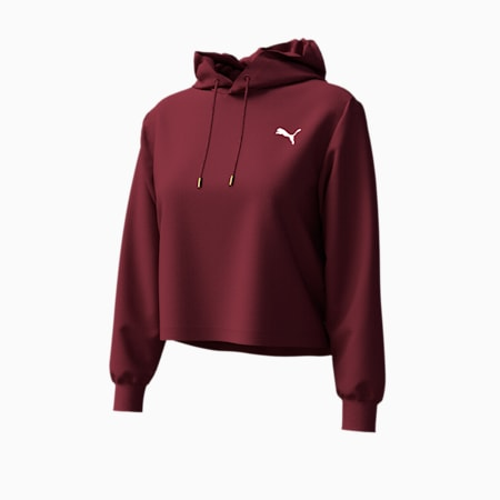 Cropped Women's Hoodie, Burgundy, small