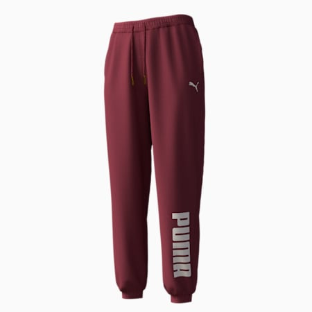 Knitted Women's Sweatpants, Burgundy, small