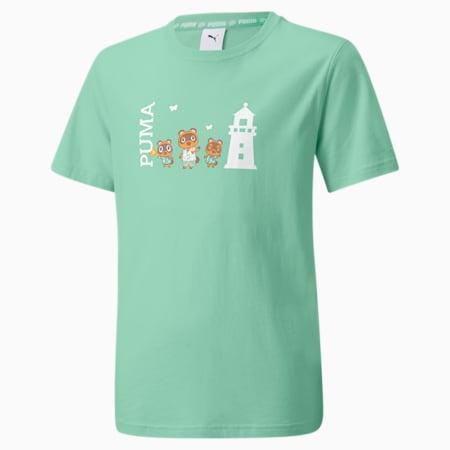 キッズ PUMA x あつまれ どうぶつの森 半袖 Tシャツ 104-152cm, Mist Green, small-JPN
