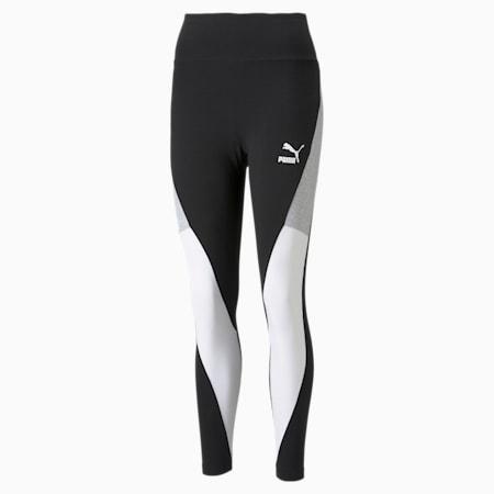 Leggings con cintura alta CLSX para mujer, Cotton Black-Puma White, pequeño