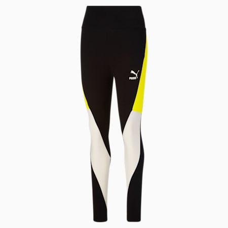 Leggings con cintura alta CLSX para mujer, Cotton Black-Nrgy Yellow, pequeño