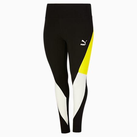 Leggings con cintura alta CLSX PL, Cotton Black-Nrgy Yellow, pequeño