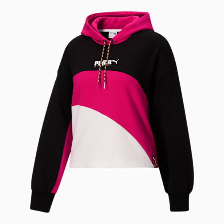Sudadera con capucha deportiva City Lights para mujer, Cotton Black-Beetroot Purple, pequeño