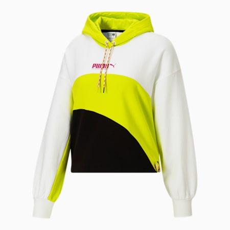 Sudadera con capucha deportiva City Lights para mujer, Puma White-Nrgy Yellow, pequeño