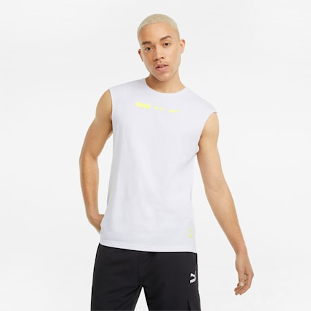 Statement mouwloos T-shirt heren, Puma White, small