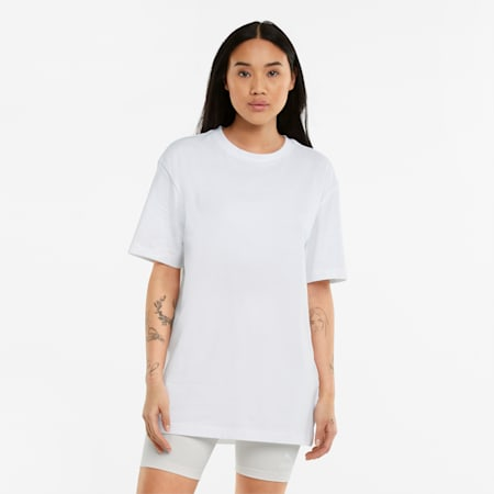 Statement Damen Oversize-T-Shirt, Puma White, small