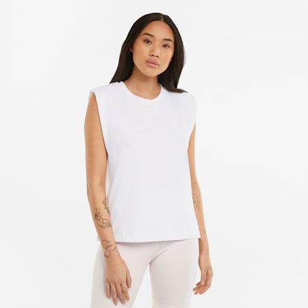 T-shirt dames met schoudervullingen, Puma White, small
