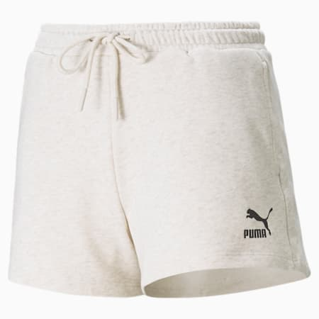 High Waist Women's Shorts, Oatmeal, small-GBR