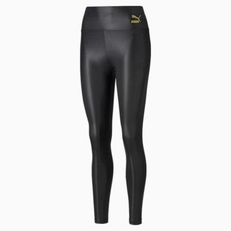 Shiny High Waist Women's Leggings, Puma Black, small