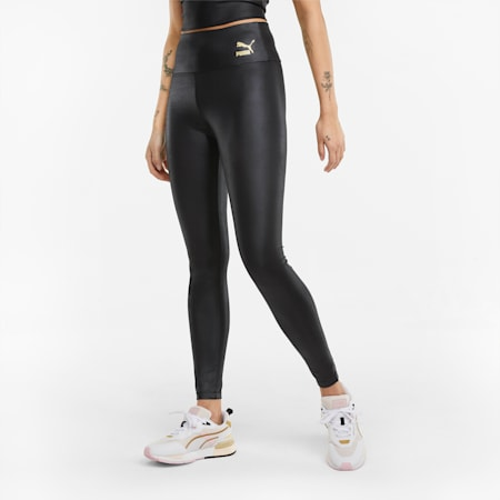 Damen Glänzende High-Waist- Leggings, Puma Black, small
