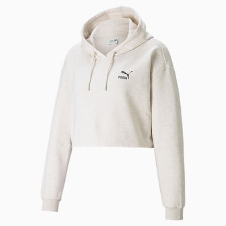 Cropped Women's Hoodie, Oatmeal, small