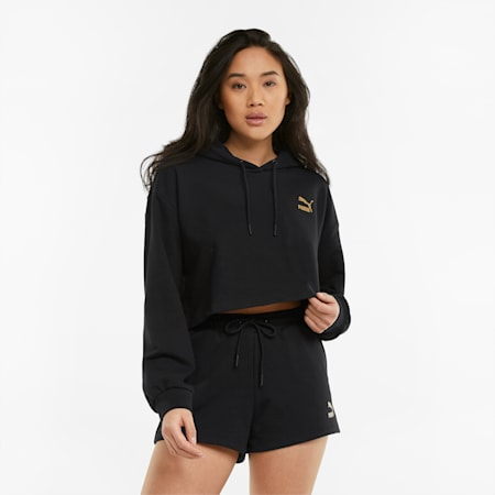 Cropped dameshoodie, Puma Black, small