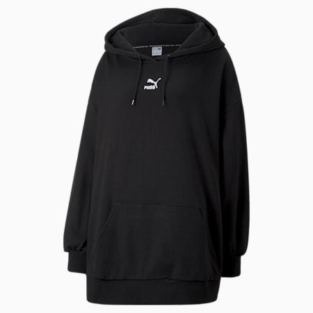 Classics PLUS Oversized Women's Hoodie, Puma Black, small-GBR