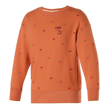Dziecięca bluza sportowa znadrukiem PUMA x TINYCOTTONS iokrągłym kołnierzem, Pheasant, small