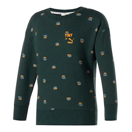 Dziecięca bluza sportowa znadrukiem PUMA x TINYCOTTONS iokrągłym kołnierzem, Green Gables, small