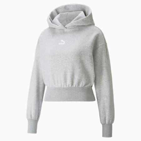 Classics Cropped Fleece Women's Hoodie, Light Gray Heather, small