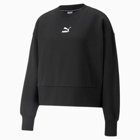 Classics Fashion Crew Neck Women's Sweatshirt, Puma Black, small