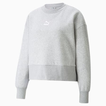 Classics Fashion Crew Neck Women's Sweatshirt, Light Gray Heather, small