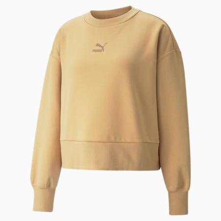 Classics Fashion Crew Neck Women's Sweatshirt, Tan, small