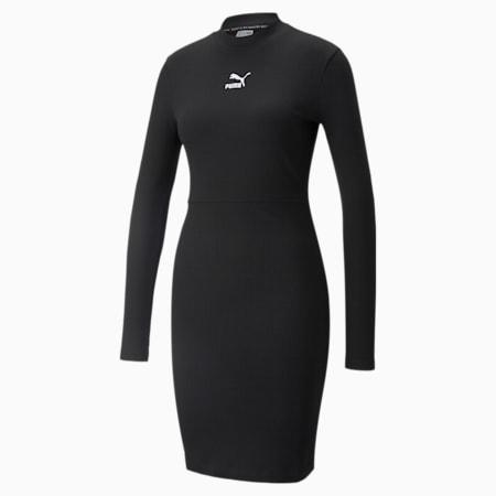 Classics Ribbed Long Sleeve Women's Dress, Puma Black, small
