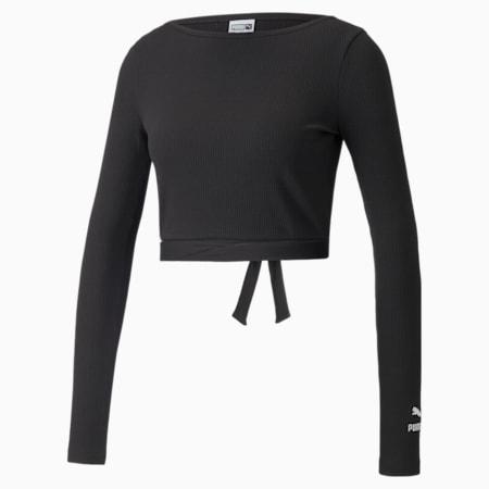 Classics geribbelde top met lange mouwen voor dames, Puma Black, small