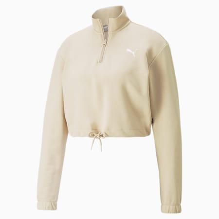 Half-Zip Crew Women's Sweatshirt, Doeskin, small