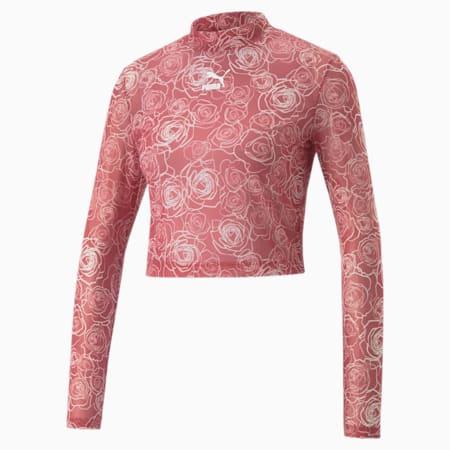 Bedrukt mesh T-shirt met lange mouwen voor dames, Mauvewood-Lotus, small