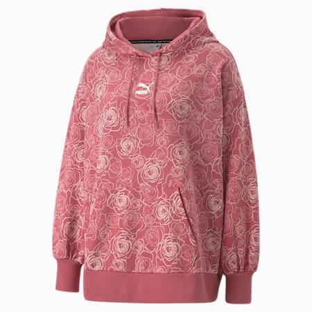 Printed Oversized Women's Hoodie, Mauvewood-Lotus, small