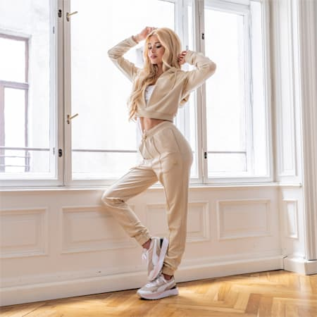 PUMA x PAMELA REIF korte hoodie voor dames, Pebble, small