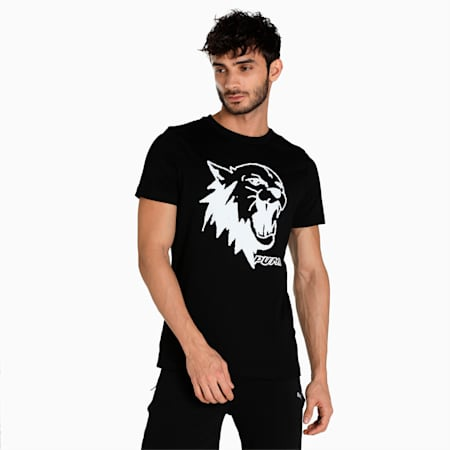 Scouted Short Sleeves Men's Slim Fit T-Shirt, Puma Black, small-IND