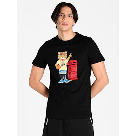 Dylan Short Sleeves Men's Slim Fit T-Shirt, Puma Black, small-IND