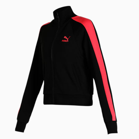 Iconic T7 Women's Track Jacket, Puma Black-Paradise Pink, small-IND